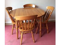 SOLID WOOD FARMHOUSE DINING EXTENDED TABLE WITH 4 CHAIRS + FREE DELIVERY