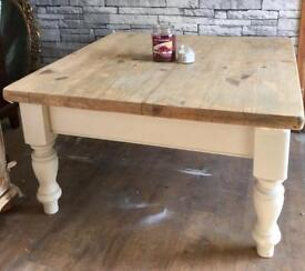 Large coffee table farmhouse upcycled/Solid pine