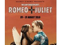 2 tickets for Romeo and Juliet Secret Cinema for Saturday 18th August!