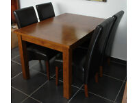 Dark oak solid wood table and chairs