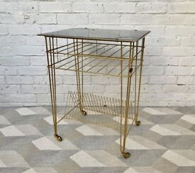 Vintage Metal Side Table Vinyl Record Storage #462