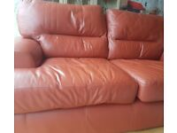 Red real leather sofa with free delivery