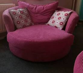 DFS Sofa, swivel love chair & footstool