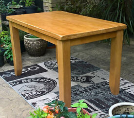A New Designer Chunky Light Oak Dining Table 120 x 75 cm