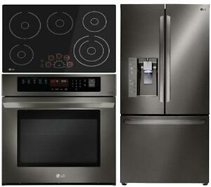 LG LFXC24726D 36in Black Stainless Steel French Door Refrigerator LWS3063BD 30in Wall Oven and LSCE3010SB 30in Electric