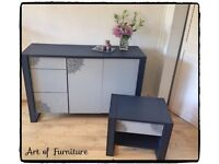 Modern Very Solid Sideboard & Matching Bedside Table Hand Painted in Blue & Grey Mineral Paint.