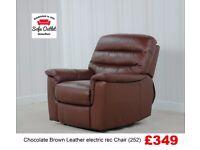 Designer Chocolate Brown leather elec rec chair (252) £349
