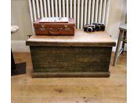 Original painted Victorian pine trunk, coffee table, toy box, blanket box, vintage storage(1326