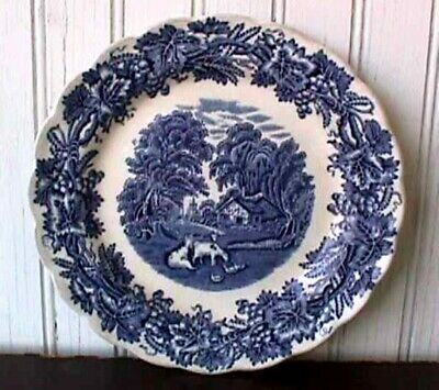 BRITISH SCENERY BLUE SCALLOPED 1 7 SALAD PLATE BOOTHS ENGLAND-R - $13.99