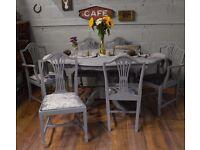 Shabby Chic Italian Dining Table & 6 Edwardian Chairs Grey Velvet Fabric