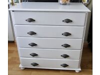 Shabby Chic Look Large Solid Pine Chest Drawers.