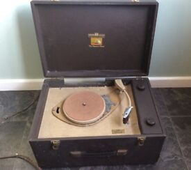 FREE TO A GOOD HOME!: HIS MASTERS VOICE/HMV 3 SPEED PORTABLE RECORD PLAYER - NEEDS WORK OR FOR PARTS