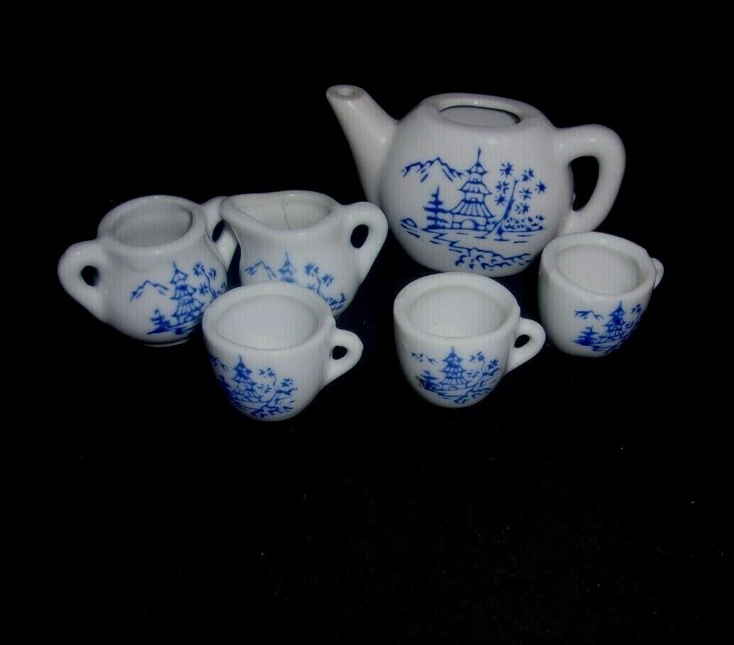 VINTAGE 6 PC MINI Tea Set Porcelain For Doll House. MADE IN JAPAN - $12.00
