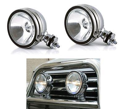 """2 x 12V 6"""" CAR SPOTLIGHT LAMPS SPOT LIGHT CHROME WHITE WITH WHITE LED LIGHT RIM"""