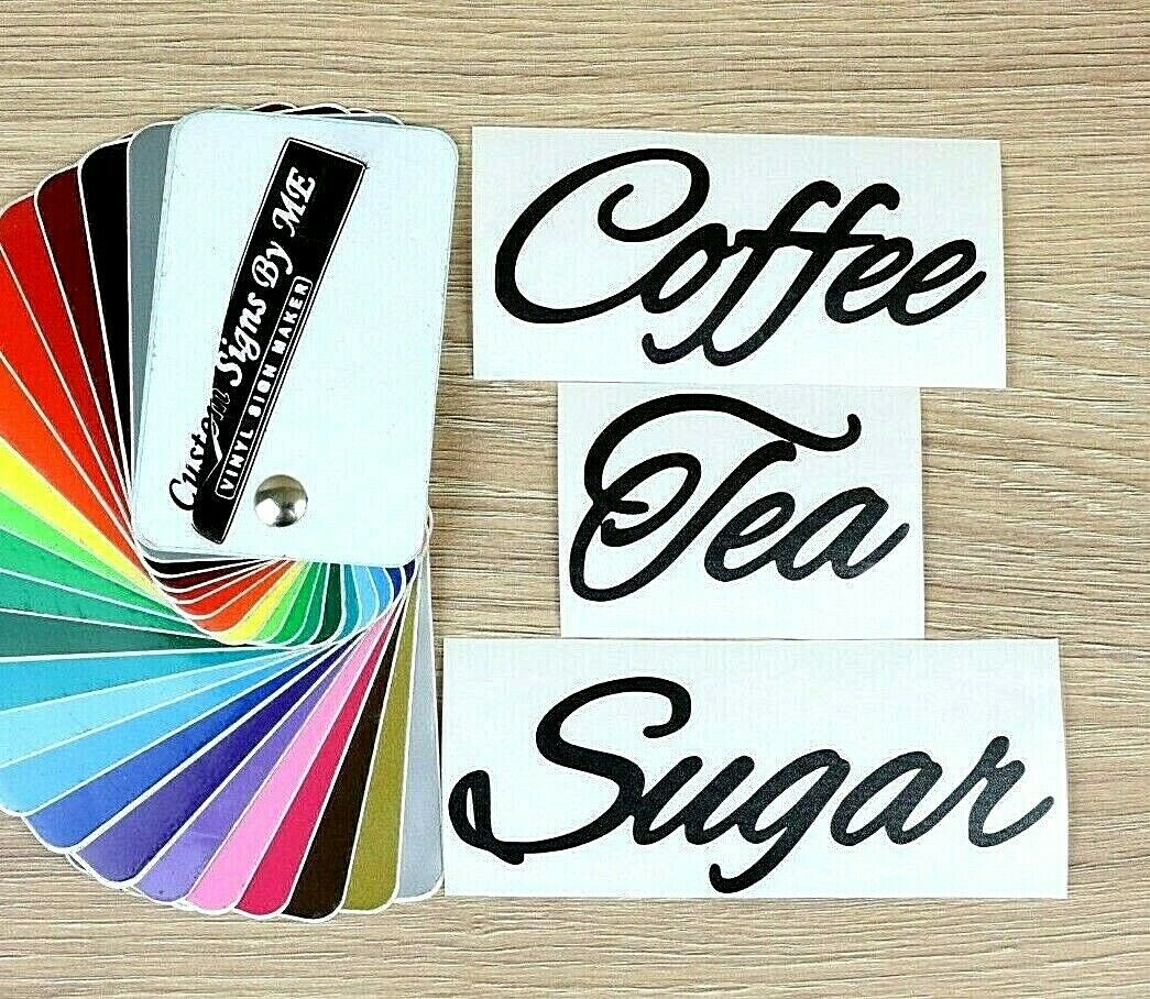 Details about coffee tea sugar kitchen jar labels personalised stickers vinyl decals adhesive