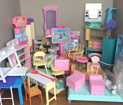 Barbie Furniture Lot Desk Spa Bathtub Chair Table Tea Set Bed Fish Tank Diorama