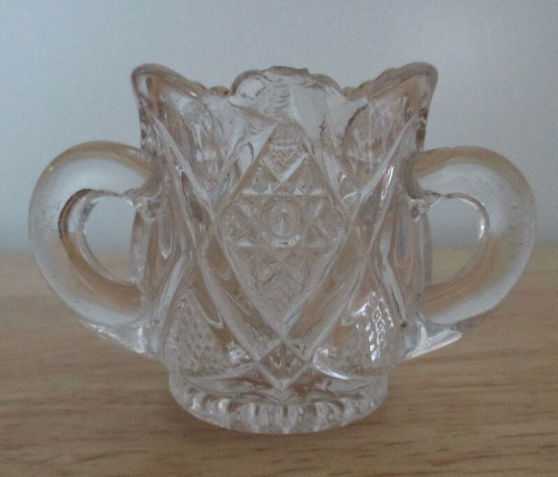 ANTIQUE THREE HANDLED CRYSTAL LOVING CUP