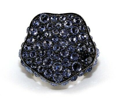 Fine Black Rose Cut Blue Sapphire Cluster Fashion Ring 18k White Gold 11.80Ct