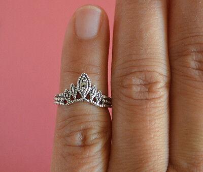 925 Sterling Silver Adjustable Marcasite Crown Tiara Toe Ring - Crown Toe Ring