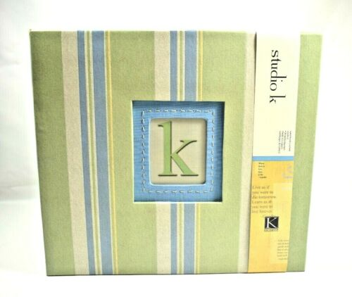 "Studio K & Company - Blue & Green Striped Scrapbook Album (12"" x 12"" Pages)"