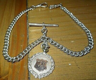Antique Solid Silver Double Albert Pocket Watch Chain & Fob Nice Weight @ 54.8g