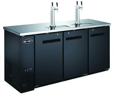 Saba 72 Black Commercial Beer Cooler Beer Tap Kegerator 3 Doors 24 Depth