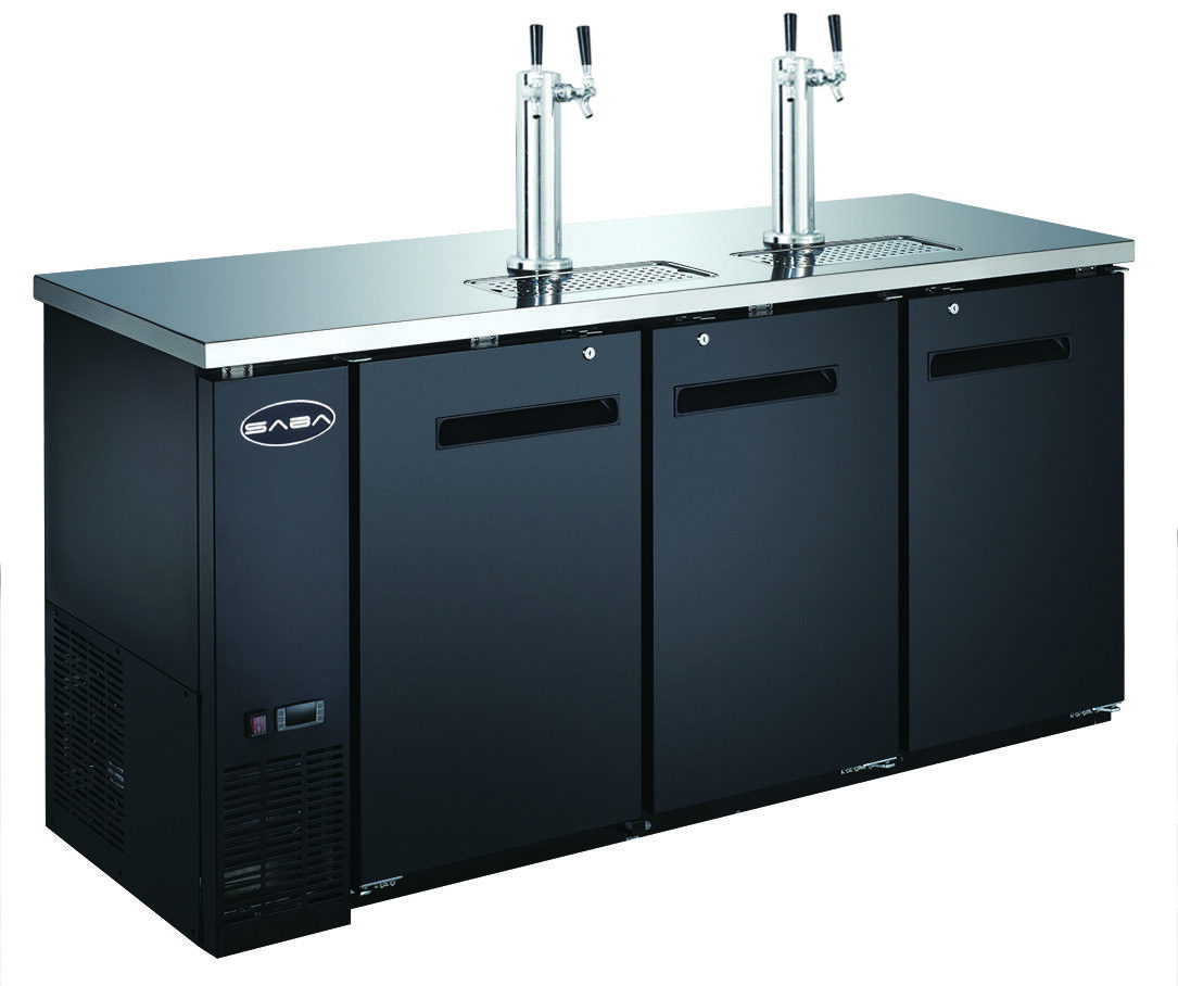 "SABA 72"" Black Commercial Beer Cooler & Beer Tap Kegerator,"