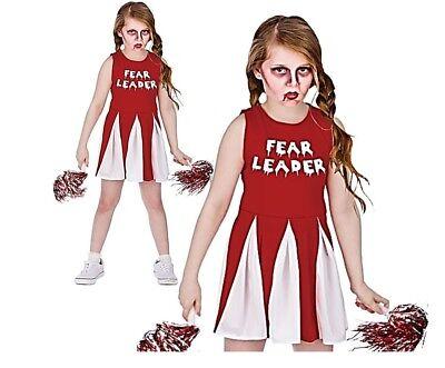 Child FEAR CHEER LEADER School Kids Halloween Girls Fancy Dress Costume Age 5-13