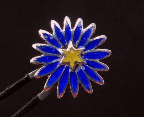 Vintage Sterling Silver Enamel 6 Pointed Star Flower Button 25942
