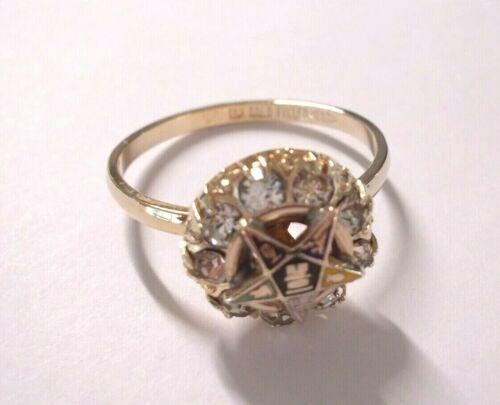 Eastern Star 10k gold filled 9 Rhinestones RING Ladies vintage> 4.5,5,6,9,10,11