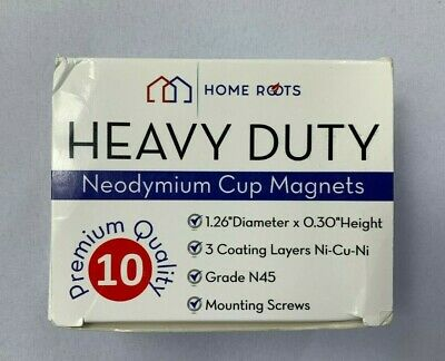 Home Roots 10 Pack Premium Quality Heavy Duty Neodymium Cup Magnets New Bj