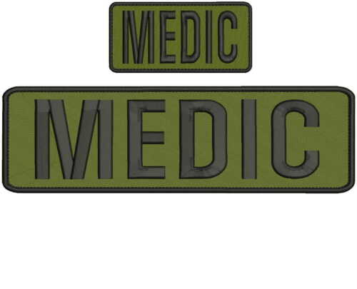 MEDIC Embroidery Patches 3x10 and 2x4 hook black and od green