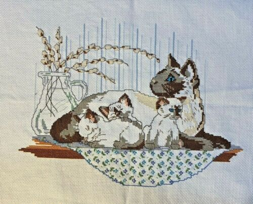 Stitching Complete, Counted Cross Stitch, Siamese Cat & Kittens