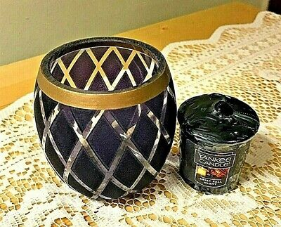 Yankee Candle NAVY GLOW VOTIVE HOLDER + Crisp Fall Night Votive NEW FREE SHIP