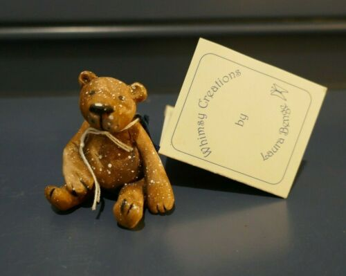 "2006 OOAK Laura Benge Whimsy Creations Teddy Bear Handmade Clay 1.75"" Tall"