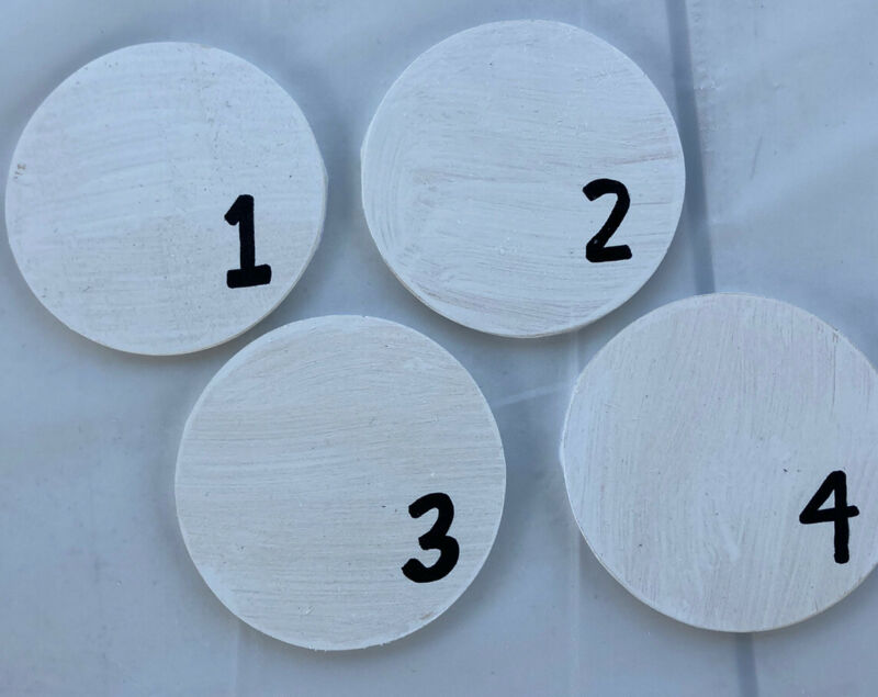 Set Of 4 Farmhouse Decor Home Drink Coasters Rustic Wood Handpainted Sealed