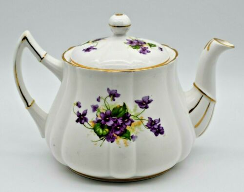 Victoria C & E Bone China, England - Teapot w/ Lid, Purple Flowers, Gilded
