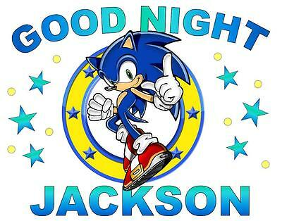 """SONIC the HEDGEHOG Personalized PILLOWCASE """"GOOD NIGHT"""" Any NAME/AGE Super Soft"""