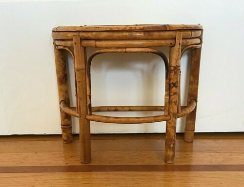Vintage small rattan bamboo demilune half moon display plant stand tabletop