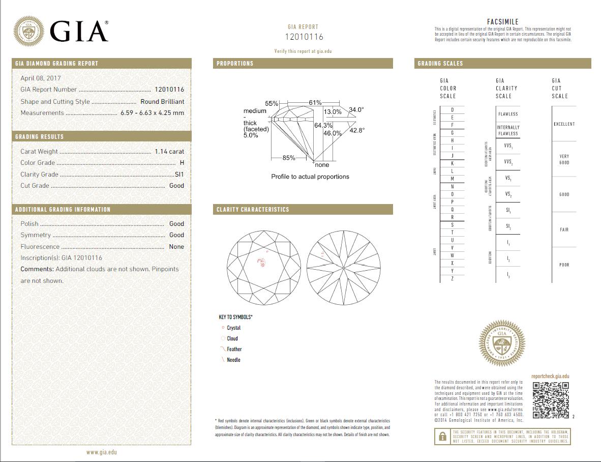 1.14 Carat Loose H/ SI1 Round Brilliant Cut Diamond GIA Certified
