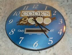 Cook's Champagne Toast to 2000 wall clock, convex face 12 across, battery op
