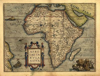 Abraham Ortelius Africa New Reproduction Antique Old Large Color Colour Map Plan