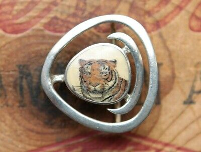 Vtg Small Sterling Silver Hand Made Tiger Scrimshaw Painting Western Belt Buckle