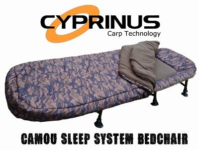 Cyprinus Stealth Camo Carp fishing bedchair 5 Season Sleeping bag sleep system
