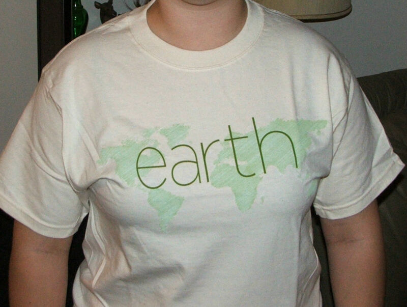 Hanes BEEFY T Shirt,Natural Cotton,Earth print,NWT