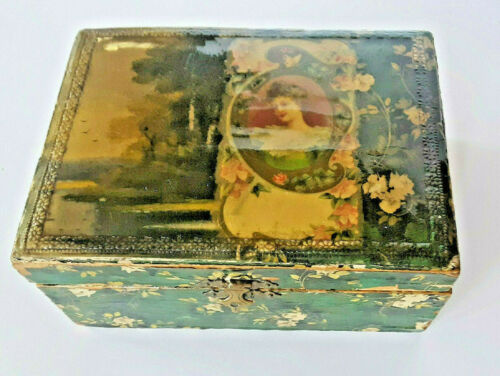 ANTIQUE CELLULOID VICTORIAN DRESSER TOP BOX  BEAUTIFUL SCENERY & LOVELY LADY