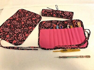 Handmade HEALING HEARTS with PINK Quilted cotton fabric crochet hook holder