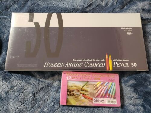 IN-HAND Combo Lot Brand New Holbein 50 + Pastel 12 Colors Pencils Awesome