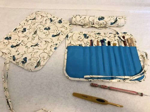 Handmade BLUEBIRDS ON BRANCHES Quilted cotton fabric crochet hook holder