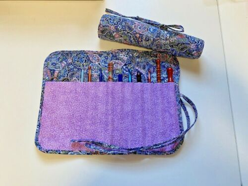 Handmade Spring Calico Paisley Quilted cotton fabric crochet hook holder